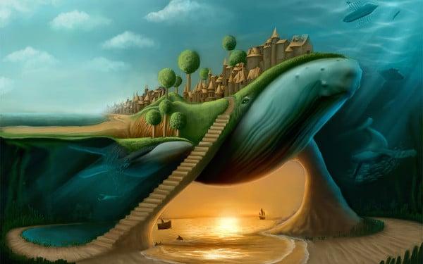 surreal watercolor painting
