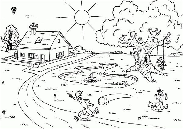 summer garden coloring page