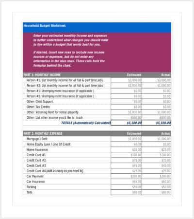 free household budget template excel format min
