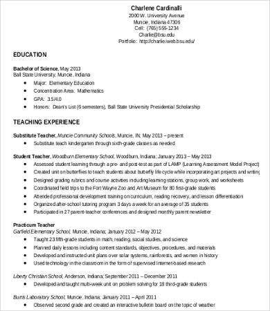 teaching work experience resume