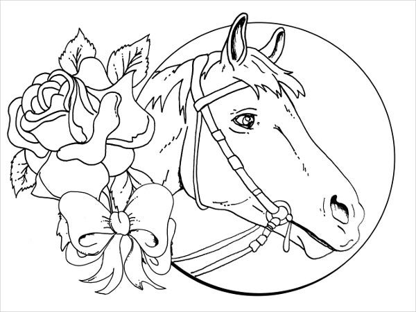 realistic horse head coloring pages 9+ Horse Coloring pages   Free PDF Document Download | Free  realistic horse head coloring pages
