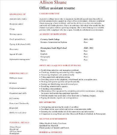 office assistant work experience resume