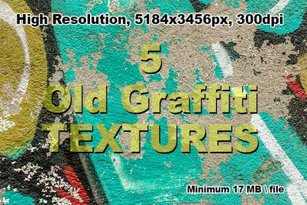 5 old graffiti textures
