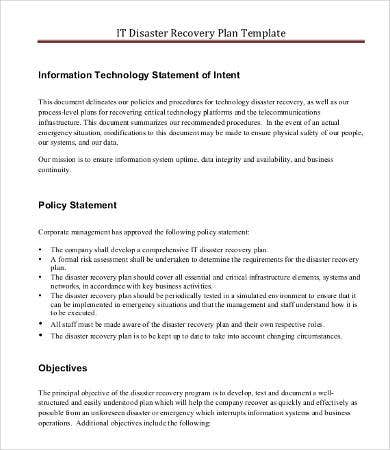 It Disaster Recovery Plan Template   Free Word Pdf Documents