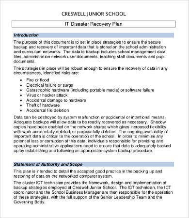 It disaster recovery plan template 9 free word pdf documents school it disaster recovery plan template friedricerecipe Images