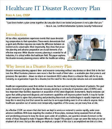 healthcare it disaster recovery plan template