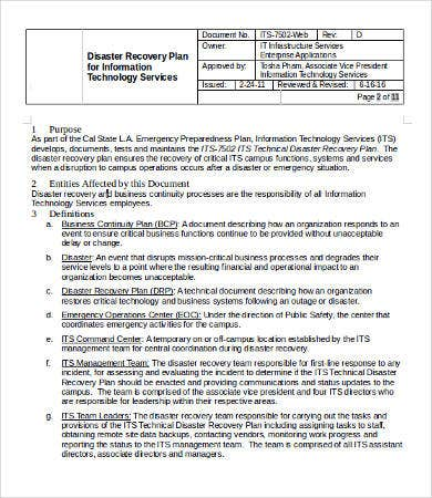 It disaster recovery plan template 9 free word pdf for Disaster recovery communication plan template