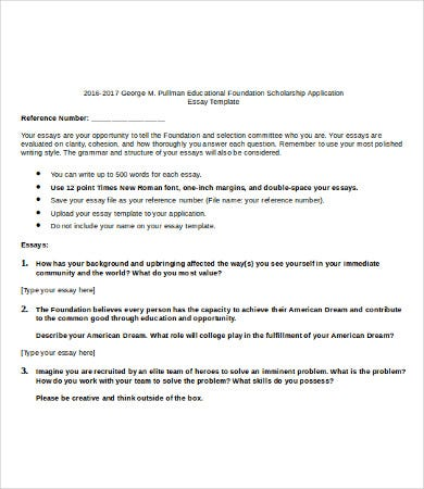 Etonnant High School Scholarship Essay Template
