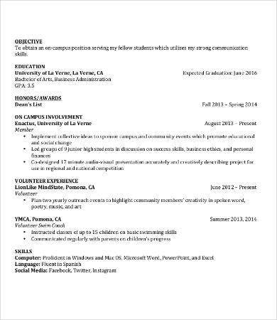 work experience resume for students