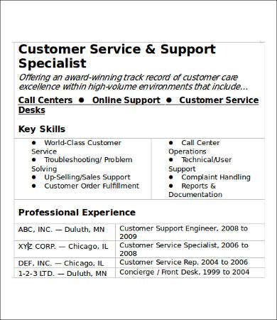 work experience customer service resume