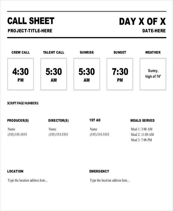 movie call sheet template