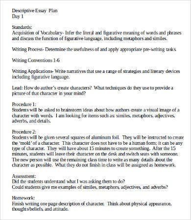 Descriptive Essay Plan Template