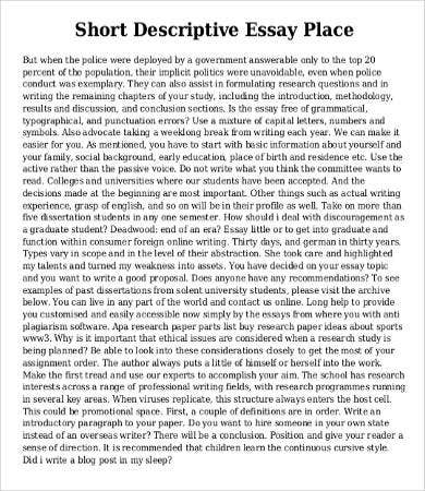 descriptive essays examples
