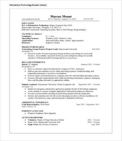 It Resume - 8+ Free Word, Pdf Documents Download | Free & Premium