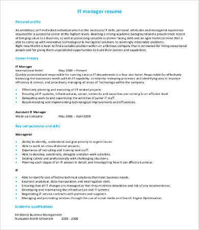 Manager IT Resume