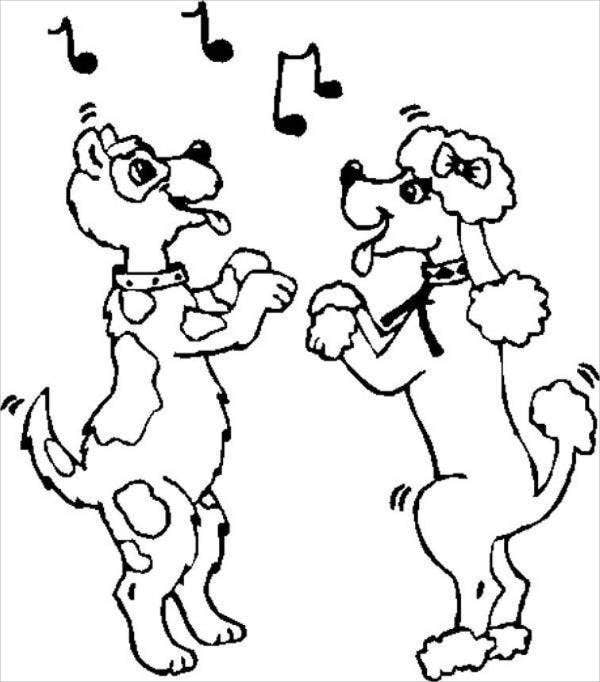 dancing dog coloring page