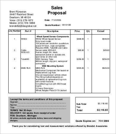 Sales Proposal Template 9 Free Sample Example Format Free