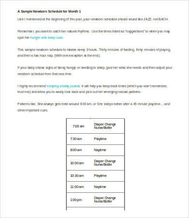 newborn schedule sample