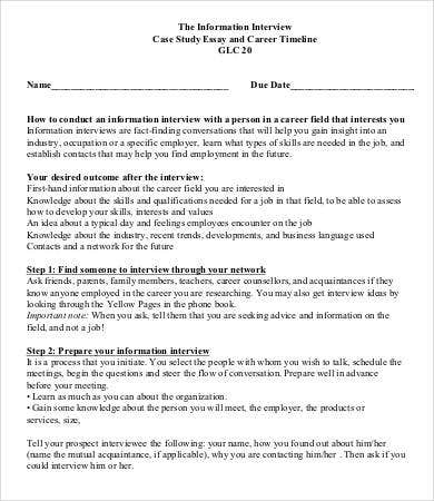 interview essay template samples examples format  sample career interview case study essay