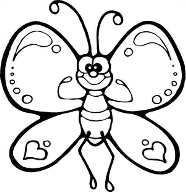 Cartoon Butterfly Coloring Page
