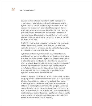 defence white paper template