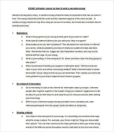 Thesis Statements For Narrative Essays