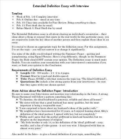 Extended definition essay example paper
