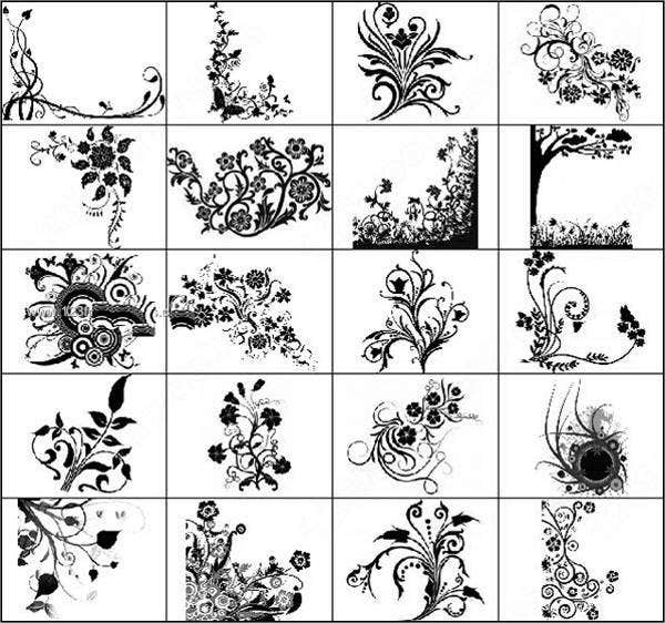 sketch flowers photoshop brushes