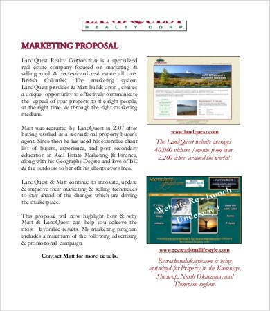 Marketing Proposal Template   Free Pdf Documents Download