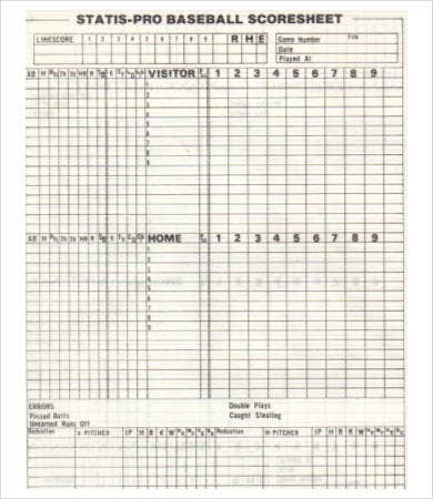 Baseball Score Sheet   Free Pdf Documents Download  Free