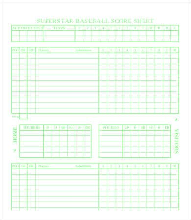 basic baseball score sheet