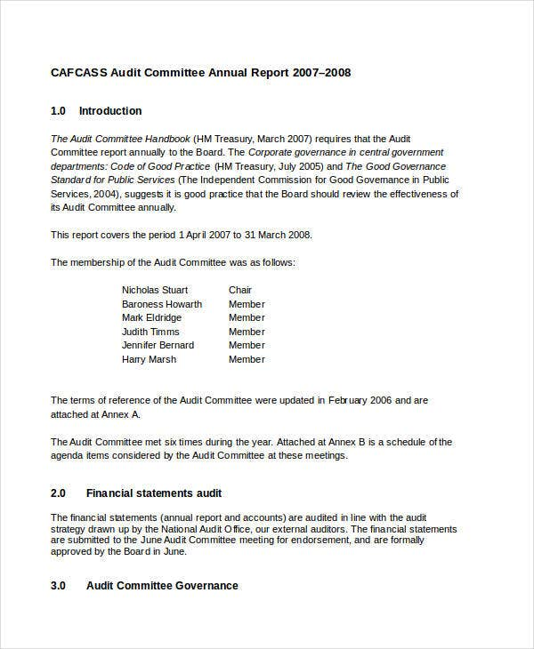 annual report template for committee