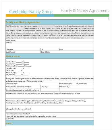Nanny Contract Template   Free Pdf Docume  Free  Premium