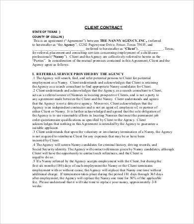 nanny agency contract template