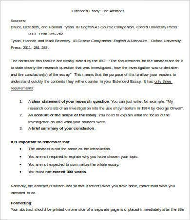 Extended essay template 7 free samples examples format download
