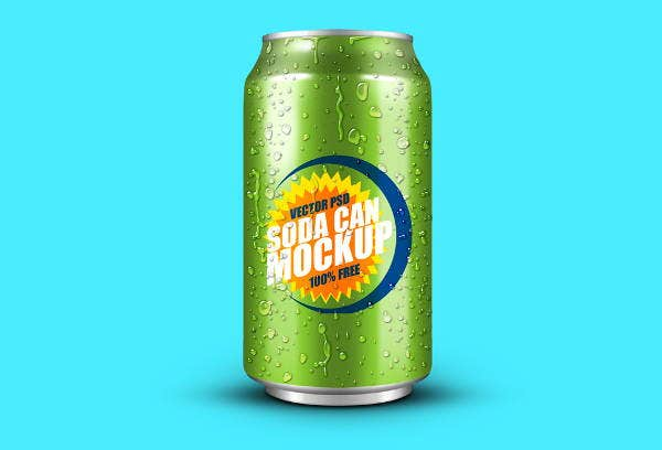 chilled soda can mockup