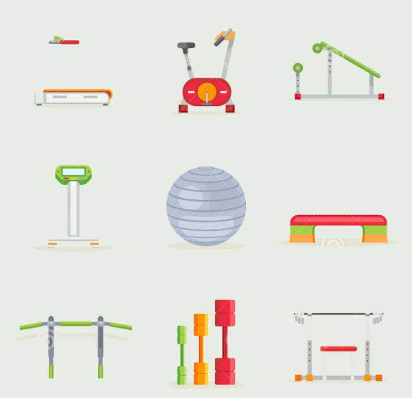 exercise tools icons set