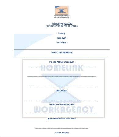 domestic nanny contract template