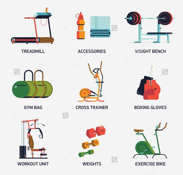 gym exercise icons set