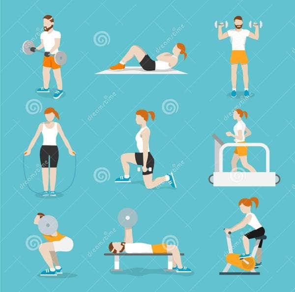 flat exercise icons set
