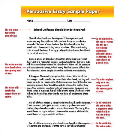 Sample of persuasive essay selo l ink co
