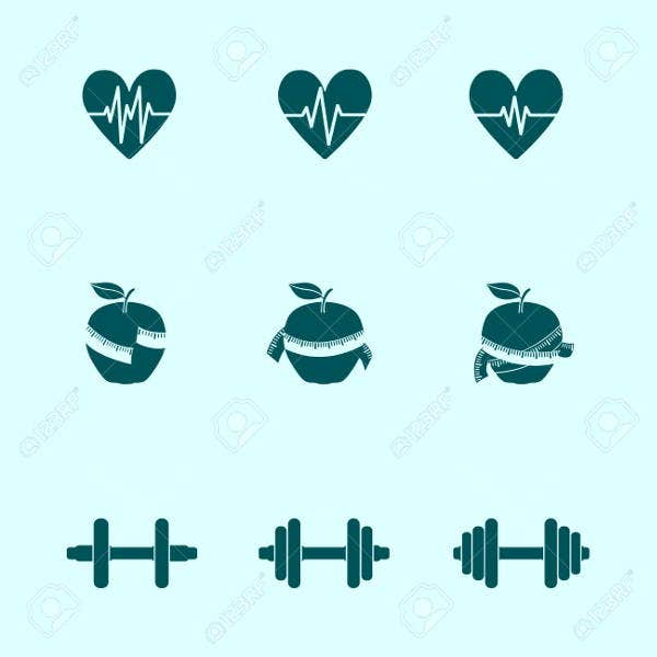 fitness exercise progress icons set