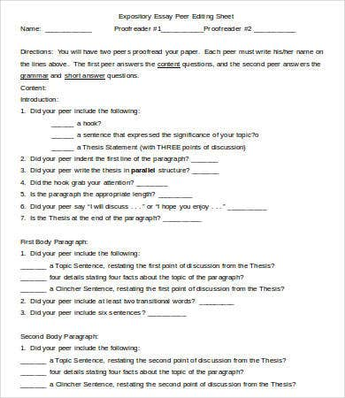 expository essay peer editing sheet