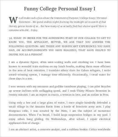 Funny sample college application essays pdf