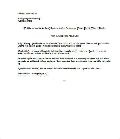 book press release template