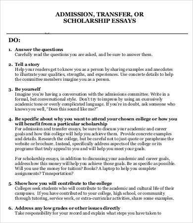 College Transfer Essay Template