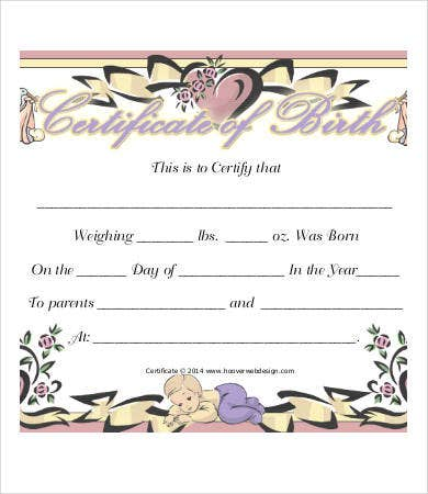 Sample birth certificate templates 6 free word pdf for Boy birth certificate template
