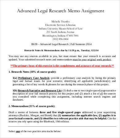 Legal Memo Template   Free Sample Example Format  Free