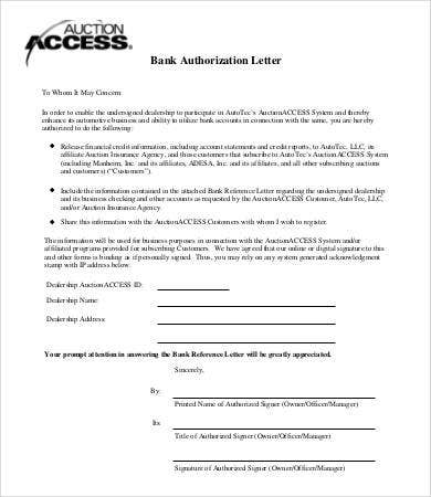 Authorization Letter Samples  Free Sample Example Format
