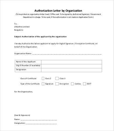 10 authorization letter samples free sample example format authorization letter by organization altavistaventures Image collections